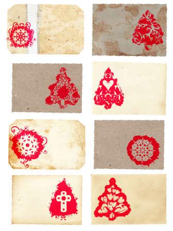 Collage de grunge ensemble de cartes de style rétro du sapin de Noël avec rouge arbre de Noël et de flocon de neige tourbillonne patrons sur fond de texture de papier  Banque d'images