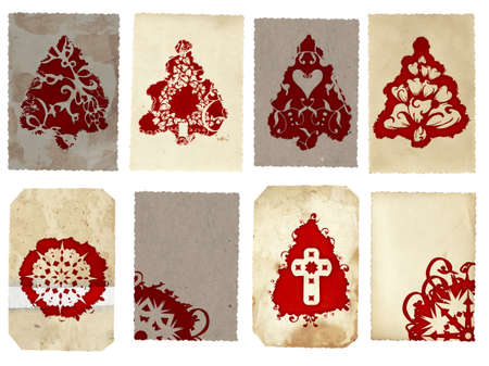 Grunge collage set of Christmas tree retro style cards with red Christmas tree and snowflake swirls patterns on paper texture background photo