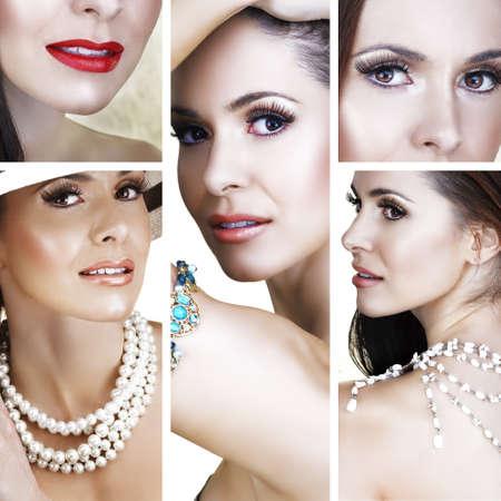 Collage de belle femme brune avec collier de perles et doux sourire.
