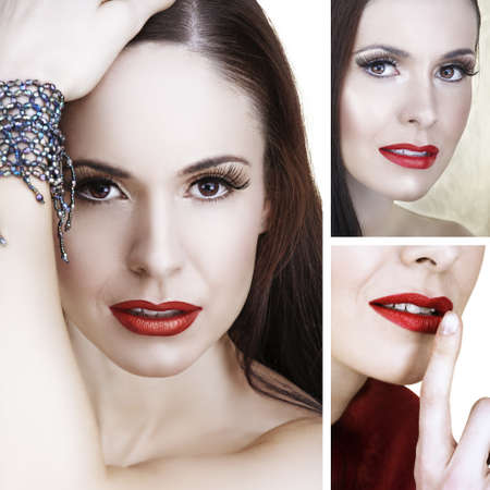 Collage of beautiful brunette woman with red lipstick, bead bracelet and soft smile. photo
