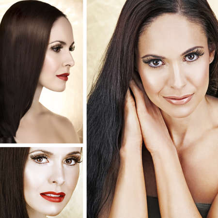 Collage of beautiful brunette woman with long hair, natural make-up and red lipstick and soft smile. Stock Photo - 10442083