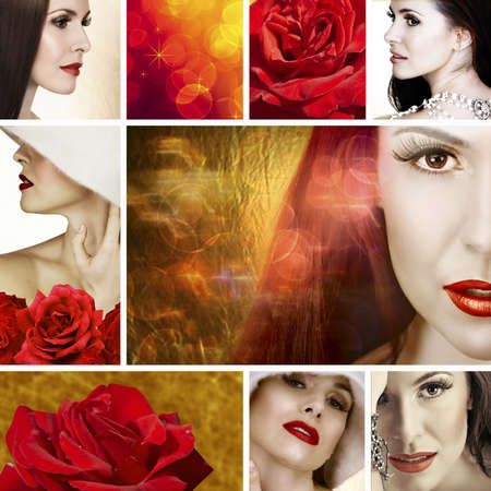 Collage of beautiful brunette woman with white necklace and soft smile. With red roses and bokeh effect background. Stock Photo