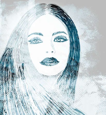 graffiti fashion illustration of a beautiful woman with long hair on wall texture with grunge effect photo