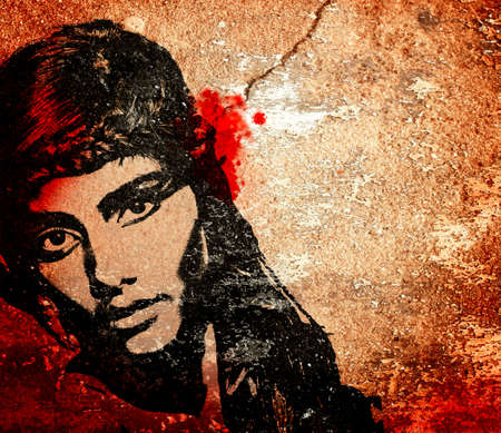 mural: graffiti fashion illustration of a beautiful woman with long hair on wall texture with grunge effect