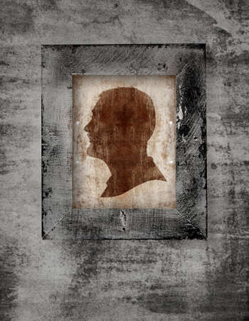cut up: drawing of a man face in old-fashioned silhouette style in a frame on grunge background