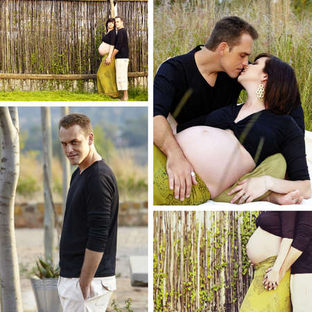 8 months pregnancy: Collage of images of 8 months pregnant brunette woman with her husband outdoors on a sunny day.