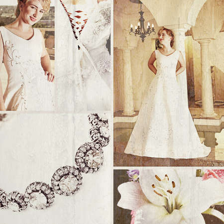 Collage of beautiful blonde bride with short hair wearing a white satin wedding gown with embroidery. photo