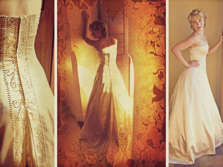 Blond bride in sleeveless wedding dress against wall standing with her back on grunge swirls and scrolls background  photo
