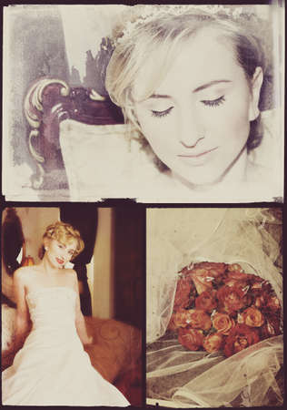 Collage of beautiful blonde bride with short hair wearing a white satin wedding dress with pearl embroidery photo