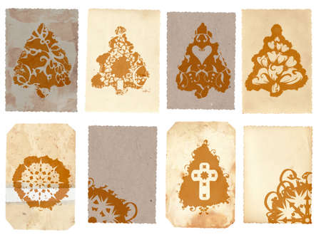 notecard: Grunge cards collage with Christmas tree and flower swirl snowflake design on rich paper texture paper