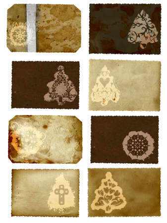 Grunge cards collage with Christmas tree and flower swirl snowflake design on rich paper texture paper