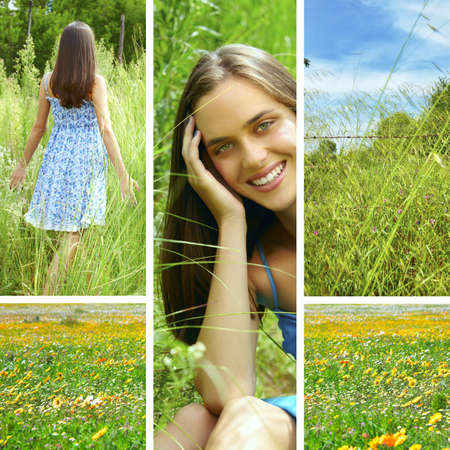 tall grass: collage of a beautiful young brunette woman in tall green grass outdoors  in summer meadow .