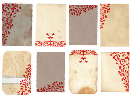grungy isolated: collage of vintage paper cards with red lace design and detailed texture with copy space