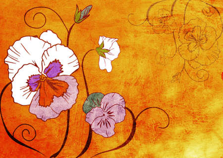 hand drawn illustration of viola flower on grunge orange paint texture . Stock Illustration - 10637463