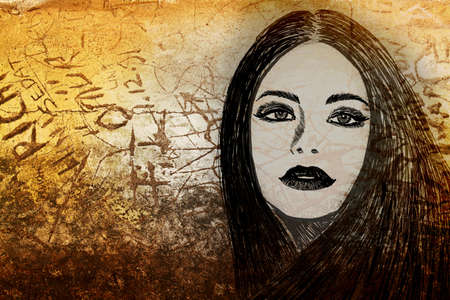 face painting: graffiti fashion illustration of a beautiful woman with long hair on wall texture with grunge effect