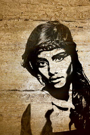 mural: graffiti fashion illustration of a beautiful woman with long hair on wood wall texture with grunge effect Stock Photo