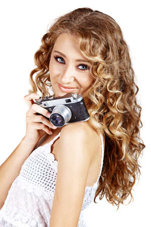 beautiful blonde woman with camera Stock Photo - 10645836