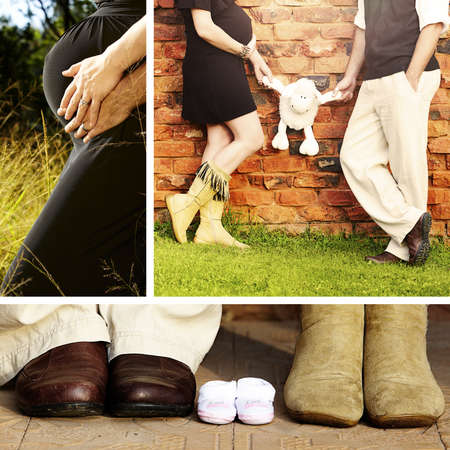Collage of images of 8 months pregnant brunette woman with her husband outdoors on a sunny day photo