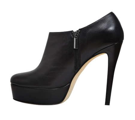 beautiful high heels platform pump shoe in italian luxury black leather. photo