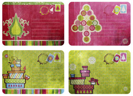 collage of four Vintage postcard design with Christmas tree and gift boxes in fun colors over grunge paper texture photo