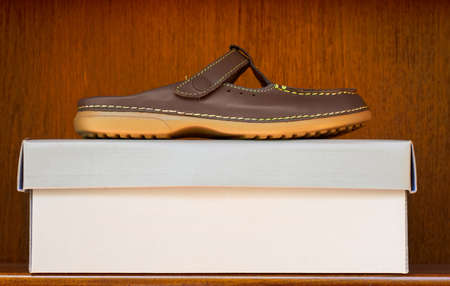 stylish brown leather slip on shoe with rubber sole on a box in a wooden shelf display with copy space. Stock Photo - 10811788