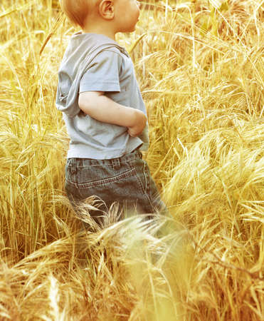 Small baby boy walking through a grass field