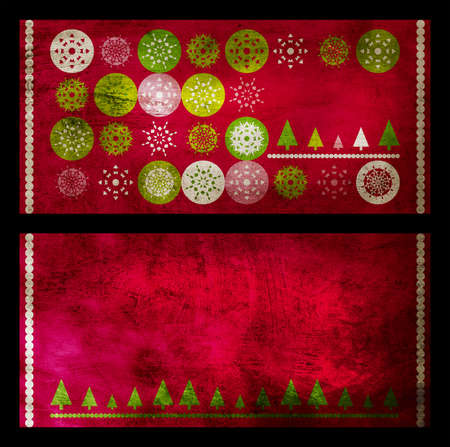 set of two red Christmas greeting cards with snowflakes on grunge background Stock Photo - 10811832