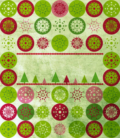 Christmas greeting card cover with green, red, pink snowflakes, Christmas trees and copy space over grunge texture photo