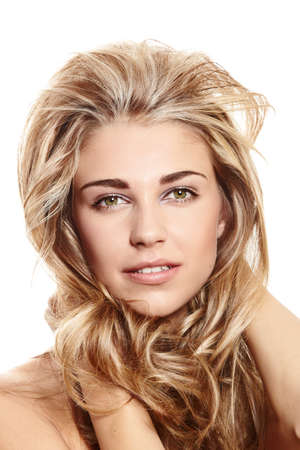 beautiful blond woman with long curly hair on whie background Stock Photo - 11100754