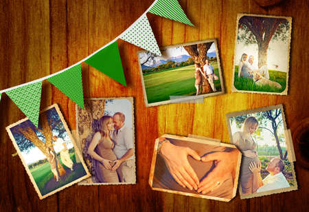 season photos: collage of photos of the pregnant couple outdoors on a summer day at sunset on a wooden background with green flags. Stock Photo
