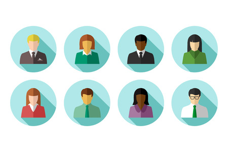 Avatar set of multiracial and ethnically diverse business people in flat design