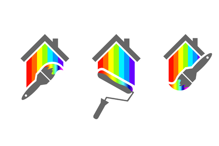 house painter logo design set with paint brush and roller house