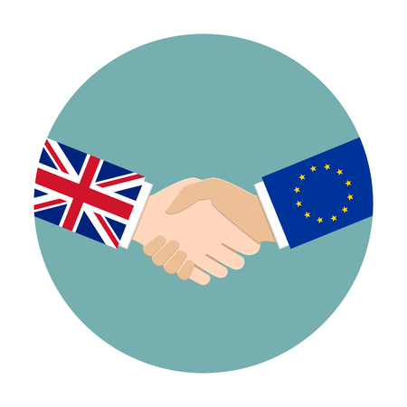 treaty: UK and EU relations concept. United Kingdom and European Union shaking hands Illustration