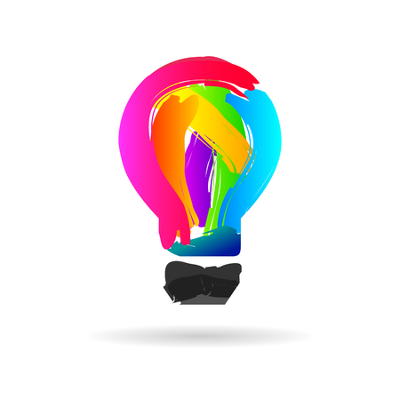 Lightbulb made of colorful paintbrush stroke as creative idea symbol 向量圖像