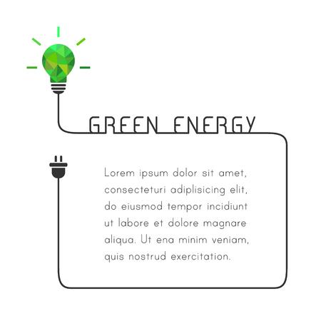 Cornice di testo con il concetto di energia verde. Modello con lampadina e filo. Archivio Fotografico - 75278545