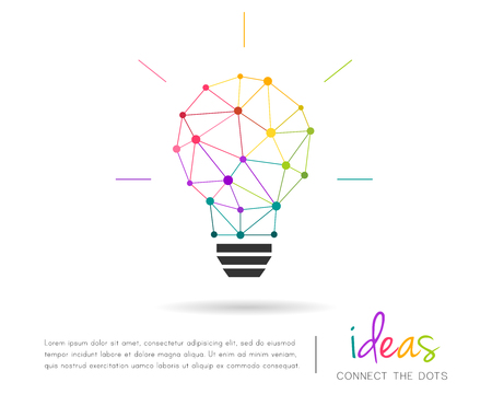 Abstract polygonal lightbulb made of colorful lines and dots. Vector illustration and design element.