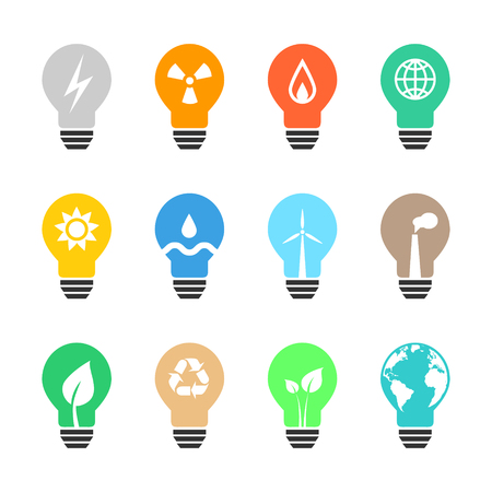 hydro electric: Energy related light bulb set with various icons and color. Eps10 vector illustration.