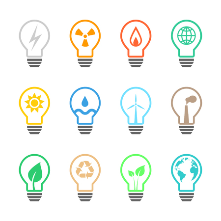hydro electric: Electricity and power related light bulb set with various icons and color. Illustration