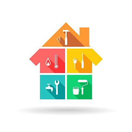 Dom z różnymi narzędziami jako koncepcja budowy i konserwacji w kolorowej płaskiej konstrukcji
