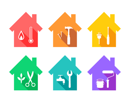 House with work tools as repair and maintenance concept. Working tool icons set in flat design. Stock Illustratie