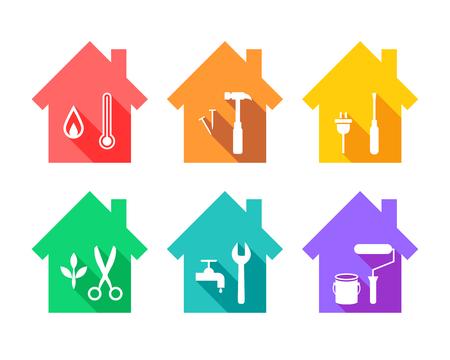 Maison avec outils de travail en tant que concept de réparation et de maintenance. Les icônes des outils de travail sont définies en plat.