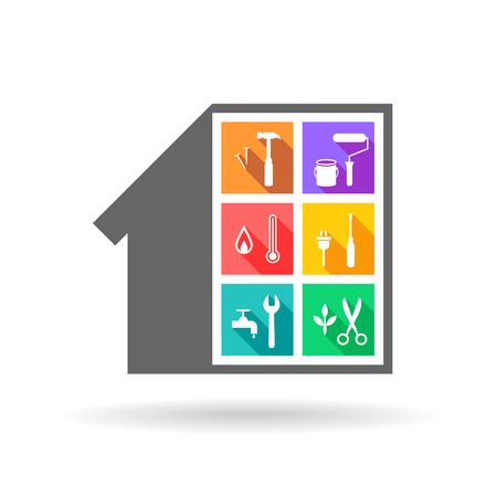 시설 관리 개념으로서 평면 디자인의 건물 및 다른 작업 도구 일러스트