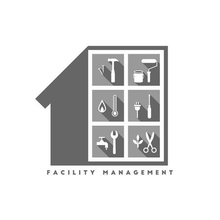 Facility management concept with building and various work tools inside Illustration