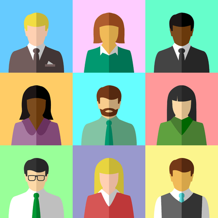 Multicultural group of people in flat design