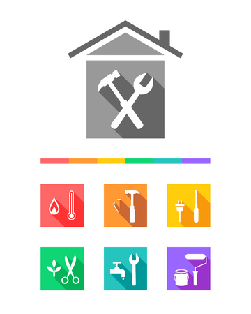 Building as construction and repair concept. Work tool icons set in flat design.