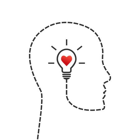 생각, 좋은 사기 및 영감 개념. 얼굴 프로필 및 전구 안에 아이디어와 아이디어 기호로. 일러스트