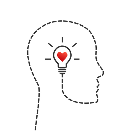 Thinking, good morale and inspiration concept. Face profile and lightbulb as idea symbol with heart inside. Illustration