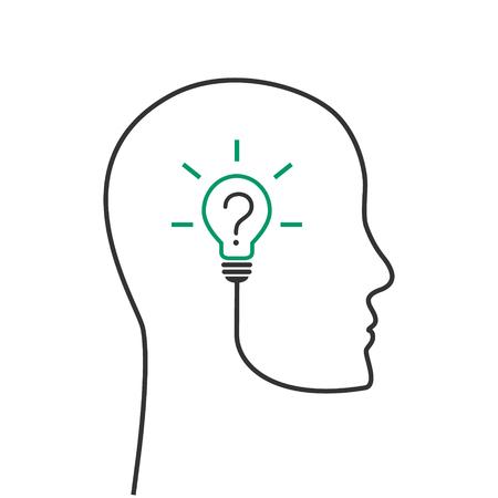 Denken und Problemlösungskonzept mit Kopf und Glühbirne mit Fragezeichen Vektorgrafik