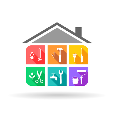 House maintenance service with different tools in colorful flat design 일러스트
