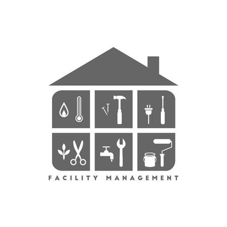 Facility Management Konzept mit Gebäude und verschiedenen Arbeitsinstrumenten im Inneren Standard-Bild - 77160642
